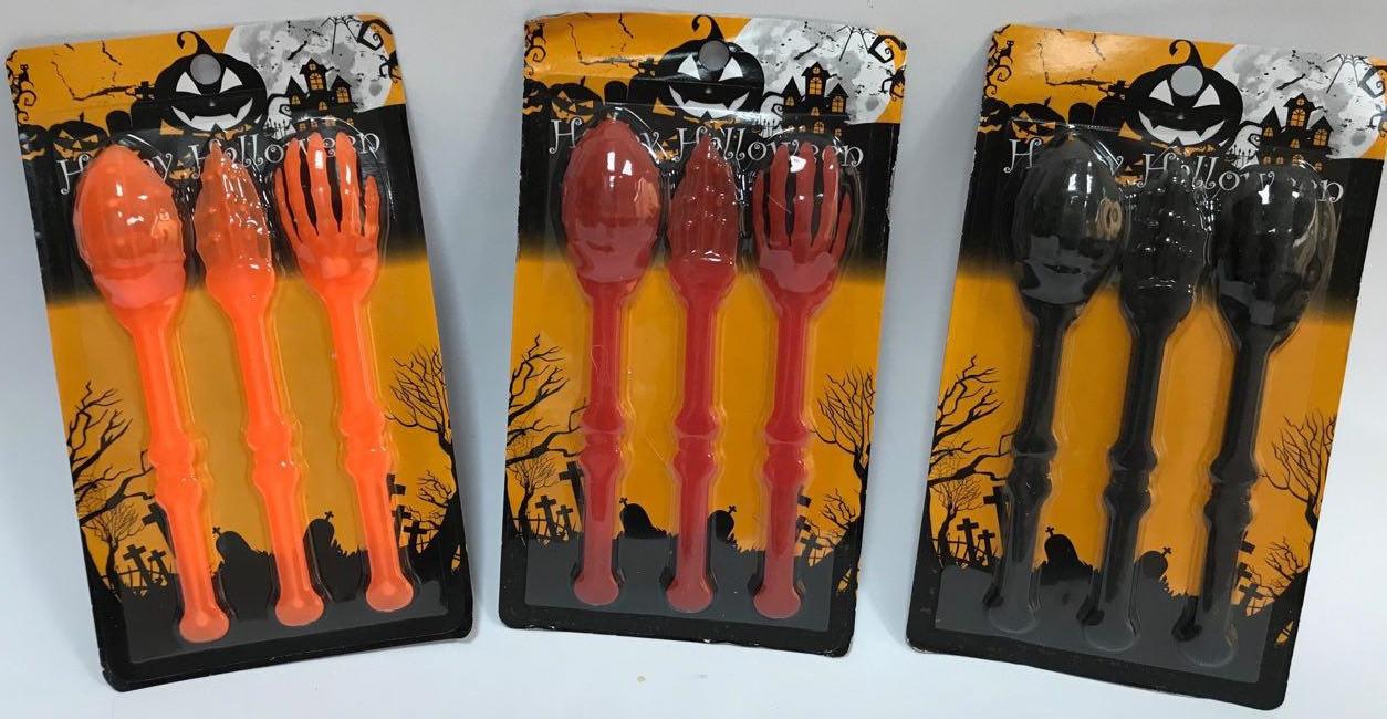 Столовые приборы на Хэллоуин 3 набора (оранжевый, красный, черный)