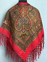 Малинова хустка з народним орнаментом (120х120)