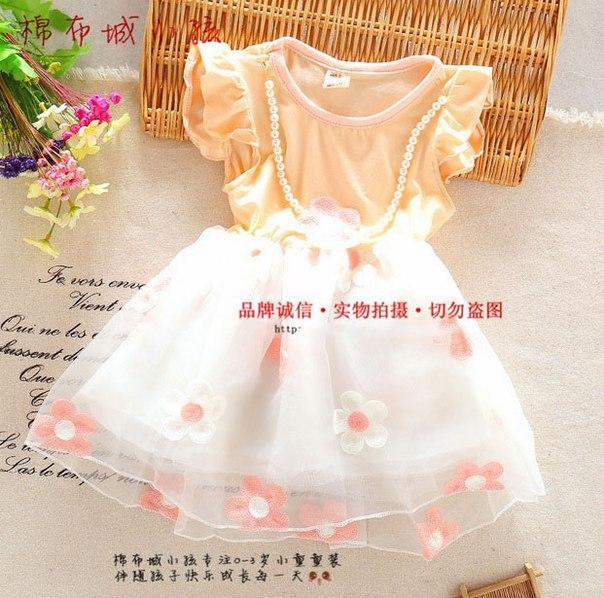 Платье детское летняя розовая с цветочками 6307