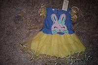 Платье детское летняя желтая с кроликом 6321