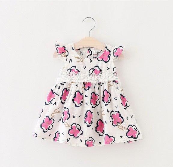 Платье летняя у с красными цветочками 6566
