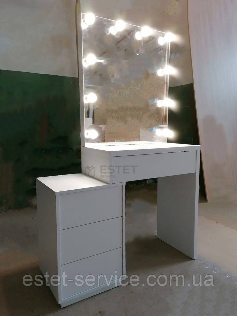 Визажный столик для макияжа со смещенной тумбой и зеркалом без рамы М617-1