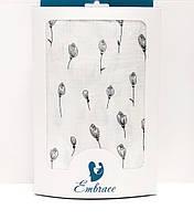 Пеленка муслиновая 100х120 см Белая с цветами
