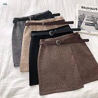 Тёплая юбочка ❣️  • материал: тёплая ткань твид, подкладка шортики, сзади на молнии, поясок в комплекте