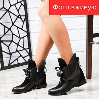 Ботильоны женские (каблук 2 см), черные, замша/кожа, на каблуке | Сапоги кожаные,евро зима, стильные, 2019 36