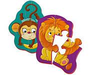 """Магнитные беби пазлы Vladi Toys """"Львёнок и обезьянка"""" (Рус) (VT3208-07)"""