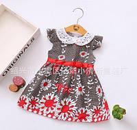 Платье детское летнее с красным 7840