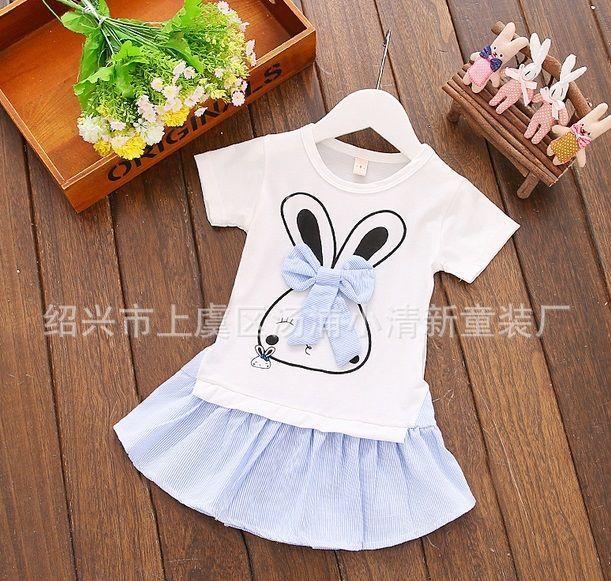 Платье детское летнее с зайчиком голубое 7854
