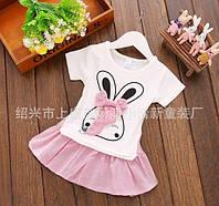 Платье детское летнее с зайчиком розовое 7856
