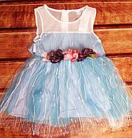 Платье детское летнее голубое 7858