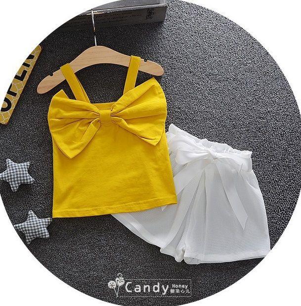 Костюм для девочек с бантиком желтый 7897