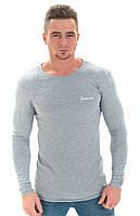 Мужская футболка стильная play с длинным рукавом L 48 светло-серый s19APm22_15