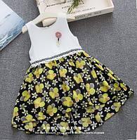 Платье детское летнее с желтыми цветочками