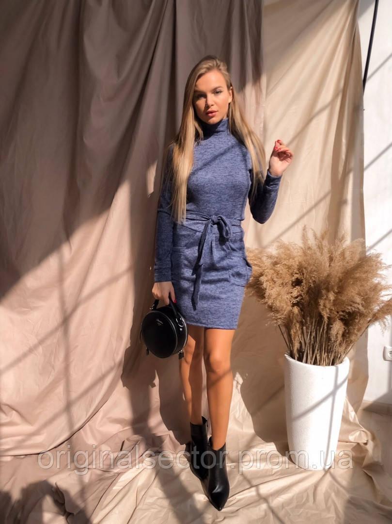 Теплое платье-гольф с карманами