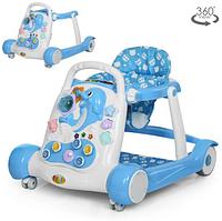 Детские Ходунки-толкатель 6080-4 музыкальные,голубого цвета.