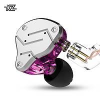 Наушники проводные KZ ZSN Mic двухдрайверные гибридные гарнитура Original Фиолетовый
