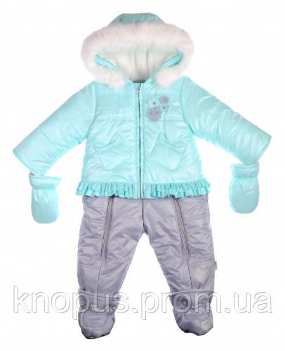 Зимний комбинезон-трансформер  с флисовой подкладкой, голубой, темно-синий, Garden baby , размері 68, 74