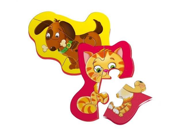 """Магнитные беби пазлы Vladi Toys """"Котёнок и щенок"""" (Рус) (VT3208-06)"""
