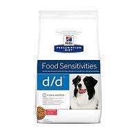 Сухой корм Hills Prescription Diet Canine d/d Food Sensitivities для собак, лосось и рис, 12 кг