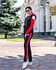 Осінній молодіжний жіночий спортивний костюм трійка з капюшоном, репліка Адідас, фото 8