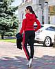 Осінній молодіжний жіночий спортивний костюм трійка з капюшоном, репліка Адідас, фото 7