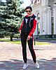 Осінній молодіжний жіночий спортивний костюм трійка з капюшоном, репліка Адідас, фото 9