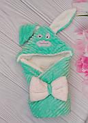 """Дитячий конверт на виписку з капюшоном Минки / зимовий конверт-ковдру для новонароджених """"Зайчик"""""""