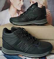 New Balance детские зимние ботинки кожа Кроссовки для подростков на меху и шнурках сапоги чёрные нью баланс Nb, фото 1