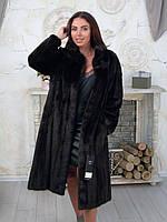 Длинная норковая шуба темного цвета 52 54, фото 1