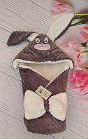 """Детский конверт на выписку с капюшоном Минки / зимний конверт-плед для новорожденных """"Зайка"""""""