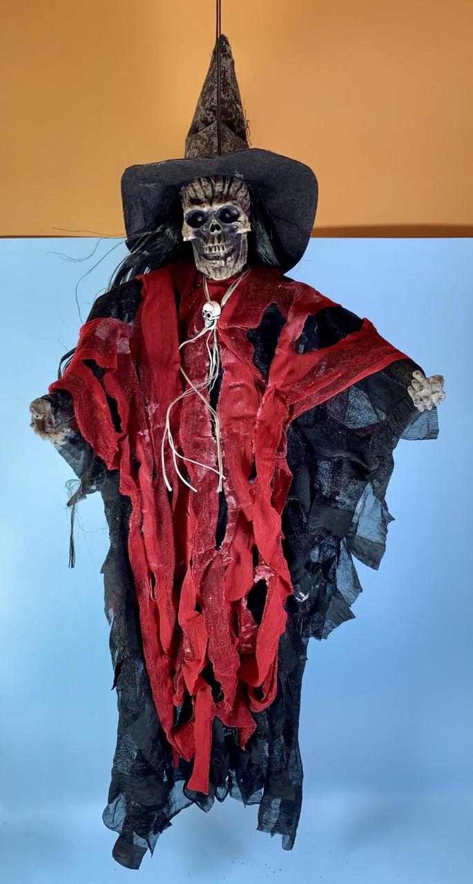 Подвесная ведьма в лохмотьях музыкальная 30 см