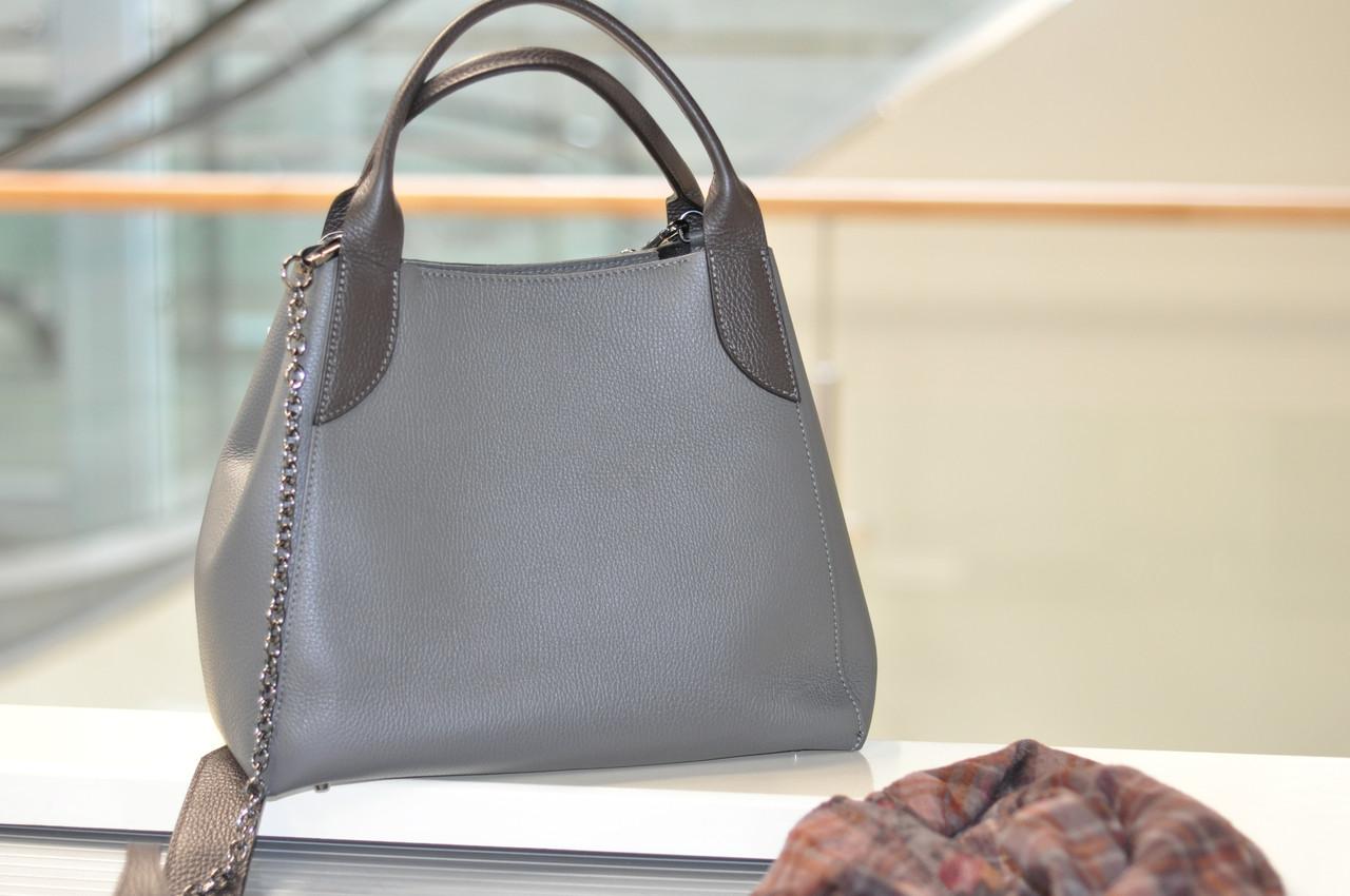 Женская сумка кожаная серая 6503