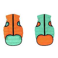 Курточка для собак Collar AiryVest Lumi двусторонняя, светящаяся, размер М 47, оранжево-салатовая