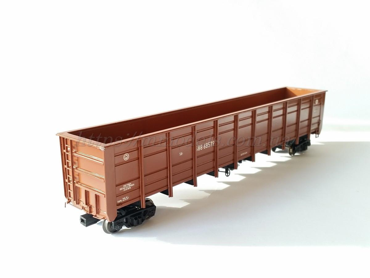 Специализированый грузовой полувагон 4х осный для перевозки щепы ( коричневого цвета ) модель 22-478, H0, 1/87