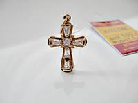Золотой крестик подвеска с фианитами 1.55 грамма. ЗОЛОТО 585 пробы, фото 1