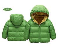 Куртка детская деми на меху зеленая, фото 1