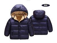 Куртка детская деми на меху темно-синяя, фото 1