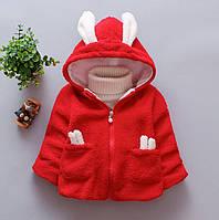 Пальто для девочек весна-осень с ушками красное