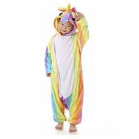 Детская пижама кигуруми Единорог радужный 2 размера