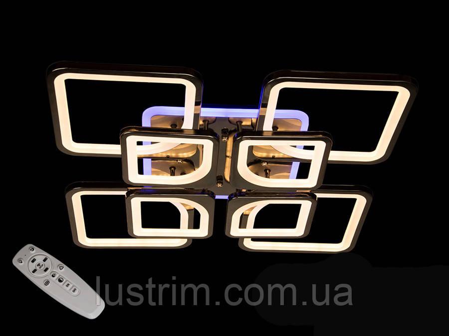 Люстра светодиодная с диммером и LED подсветкой, цвет чёрный хром, 190W