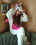 (110, 120, 130, 140 см) Детский кигуруми единорог бело-розовый v131, фото 2