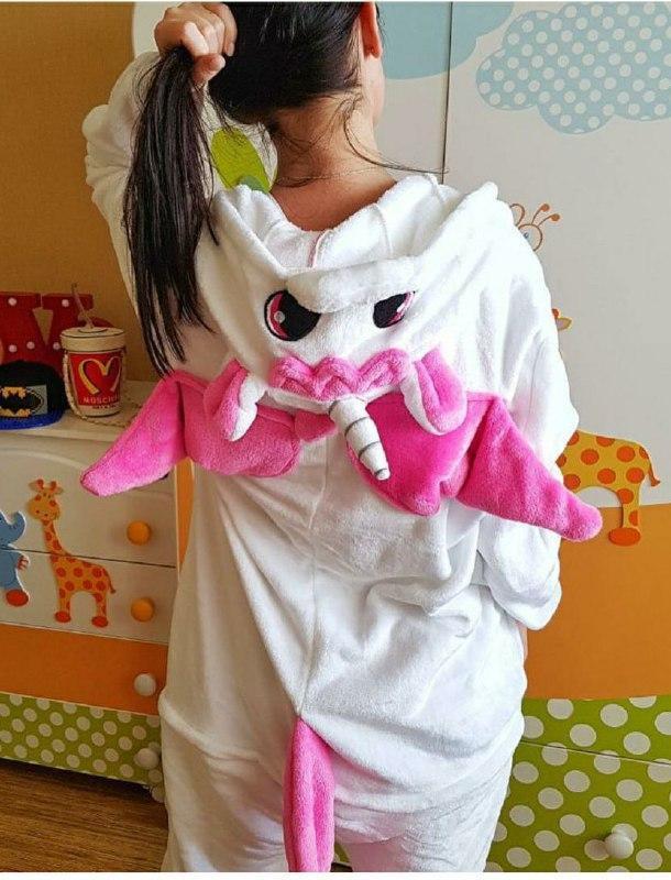 (110, 120, 130, 140 см) Детский кигуруми единорог бело-розовый v131