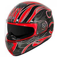 """Шлем-интеграл Hawk GLD-803 с черно красным принтом """"Адское пламя"""" , фото 1"""