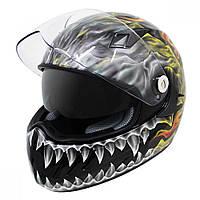 """Шлем интеграл с двойным визором Hawk KT-4425 """"Пылающий череп"""", фото 1"""