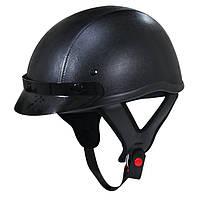 Кожаный шлем для скутера Dark Rider T-70 черного цвета со съёмным визором