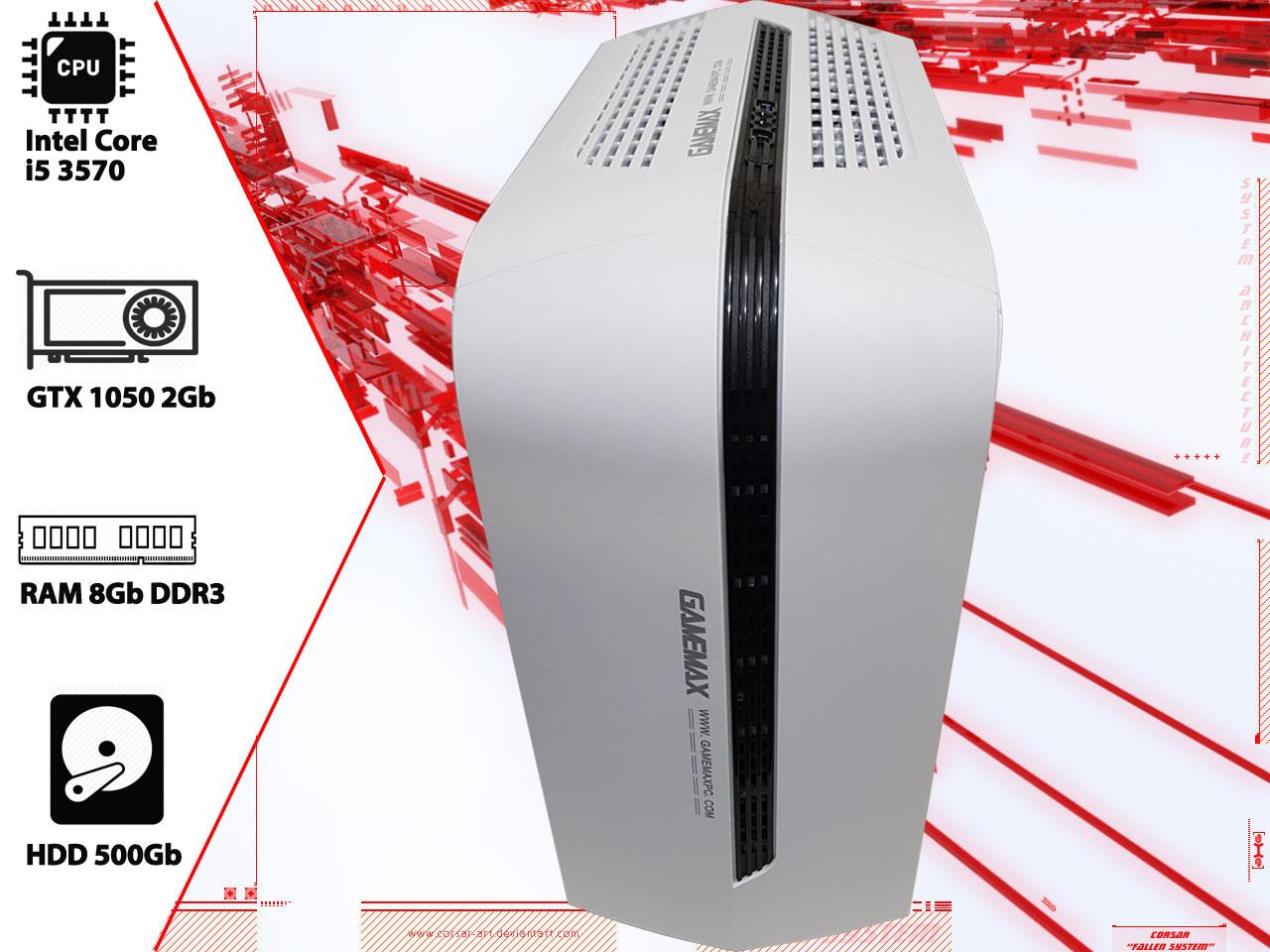 Игровой ПК Intel Core i5 3570, GTX 1050 2Gb, DDR3 8Gb, 500Gb