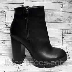 Женские кожаные ботинки на каблуке