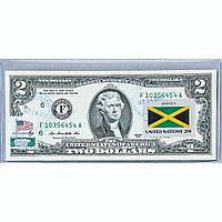 Банкнота США 2 доллара 2013 с печатью USPS, флаг Ямайки, Gem UNC в пластиковом холдере