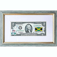 Банкнота США 2 доллара 2013 с печатью USPS, флаг Ямайки, Gem UNC в рамке с паспарту (1-сторонняя)