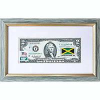 Банкнота США 2 доллара 2013 с печатью USPS, флаг Ямайки, Gem UNC в рамке с паспарту